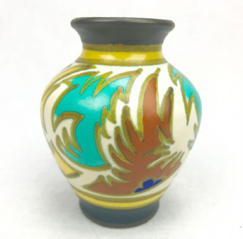 Gouda Pottery Vase / Art Deco 1920's / Yellow / Turquoise / Orange / Brown